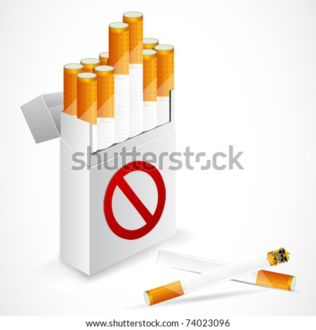 illustration of cigarette box with forbidden symbol - stock vector