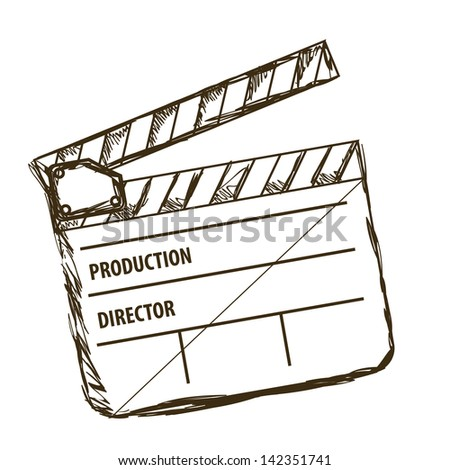 Illustration of cine icon, slate of director Film, vector illustration - stock vector