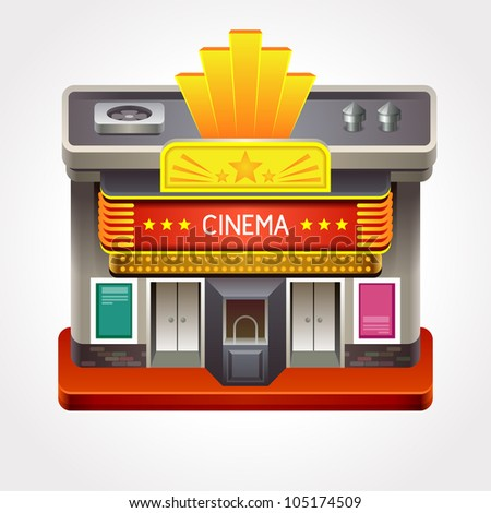 Illustration of cinema theater or movie house. - stock vector