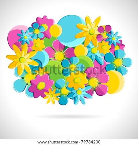 illustration of circular arrangement of colorful flower - stock vector