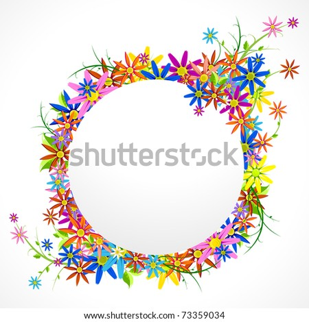 illustration of circular frame with colorful flower on white background - stock vector
