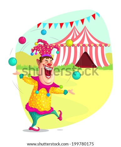 illustration of circus clown doing juggling in vector - stock vector