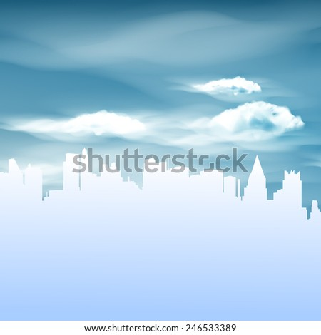 Illustration of City and Blue Sky background  - stock vector