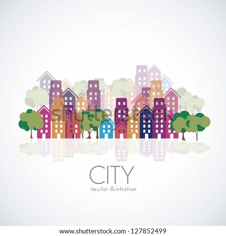 Illustration of city buildings silhouettes and colors, vector illustration - stock vector