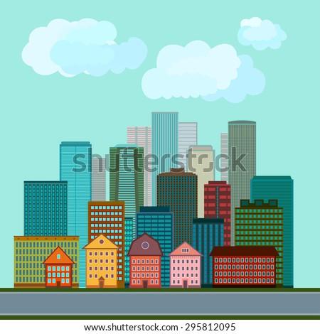 Illustration of city buildings. Vector design. - stock vector