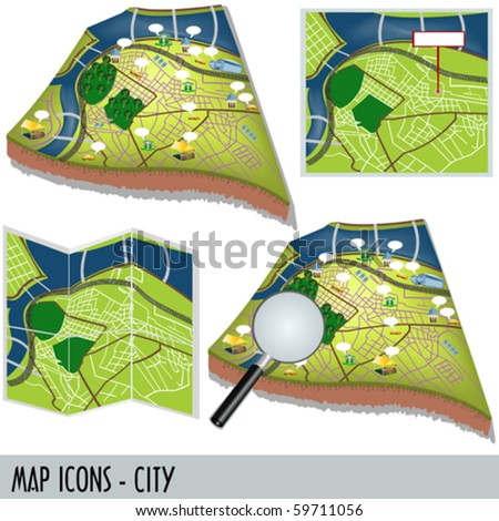 Illustration of city map icons isolated on white background. - stock vector