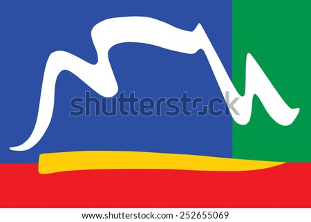 Illustration of city of Cape Town flag from South Africa. original and simple Cape Town city flag isolated vector in official colors and Proportion Correctly  - stock vector