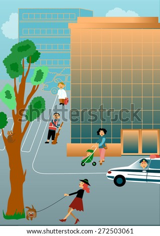 Illustration of city street with walkers - stock vector