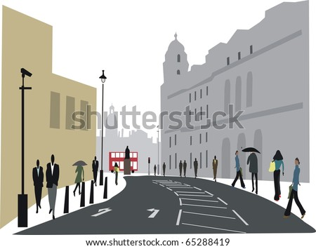 Illustration of city workers in Whitehall, London England. - stock vector