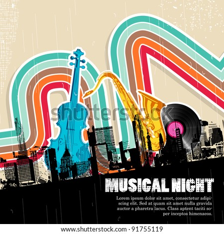 illustration of cityscape with musical instrument - stock vector