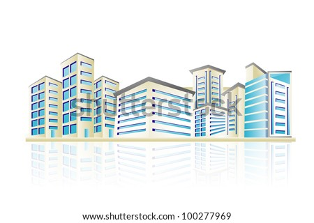 illustration of cityscape with office building tower - stock vector