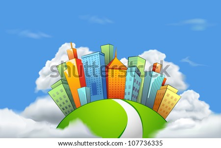 illustration of cityscape with tall tower on cloud - stock vector