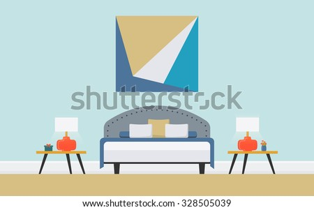 Illustration of classic bedroom with upholstered double bed, bedstead, orange lamp. Lounge concept interior with modern furniture . Flat design, minimalist style. Vector - 10 EPS, design elements  - stock vector