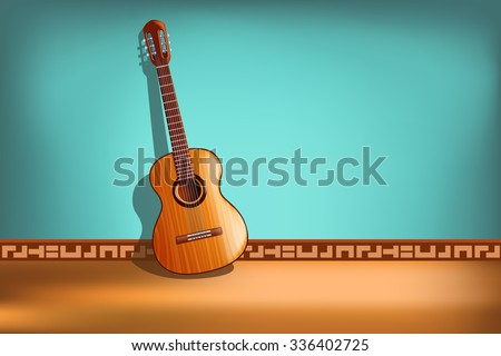 illustration of classic guitar on blue background with front view - stock vector