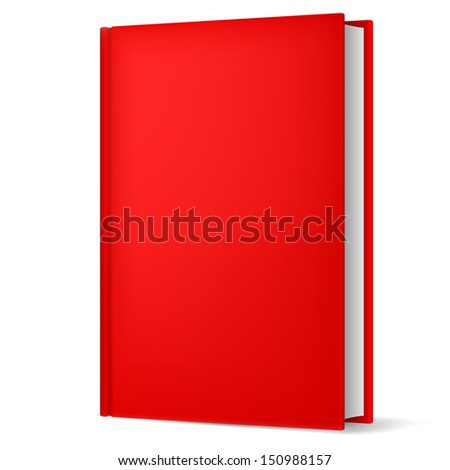 Illustration of classic red book in front vertical view isolated on white background.