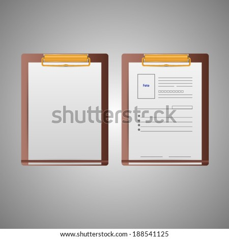 Illustration of clipboards. Blank and form sheets on brown clipboards. Two isolated vector illustrations on gray. - stock vector