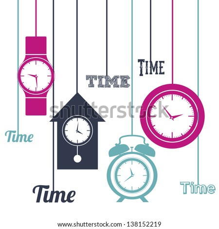 Illustration of clock and time icons, illustration Vector - stock vector