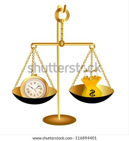 illustration of clock time money dollar on scales - stock vector