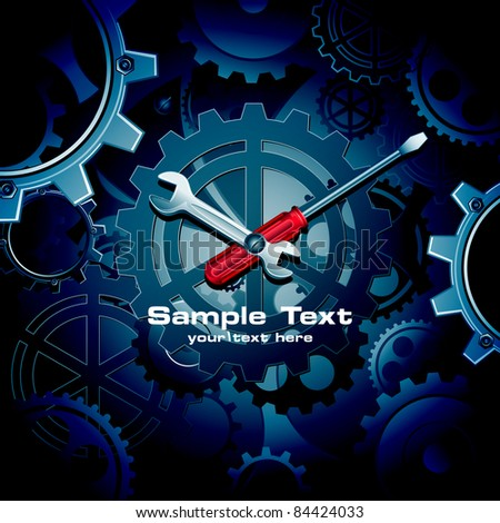 illustration of clock with crew driver and wrench on cogwheel background - stock vector