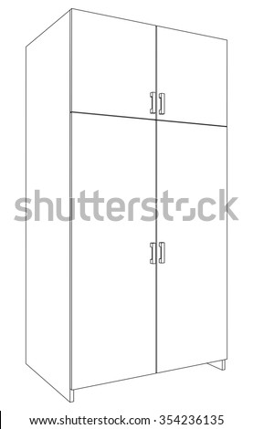 Illustration of closed cabinet on white background, side view - stock vector