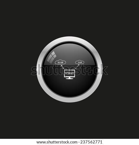 illustration of cloud storage, black button, vector - stock vector