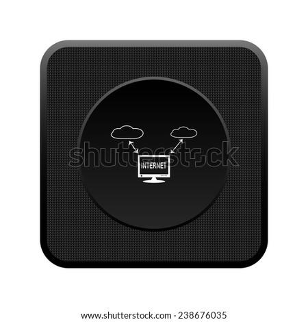 illustration of cloud storage black square plastic button, vector, EPS 10 - stock vector
