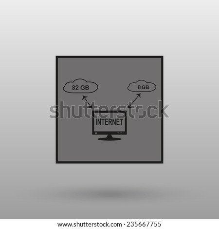 illustration of cloud storage on a gray background with shadow. vector - stock vector