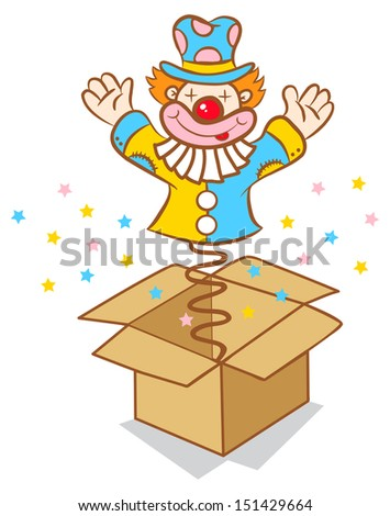 Illustration of clown jumps out of the box