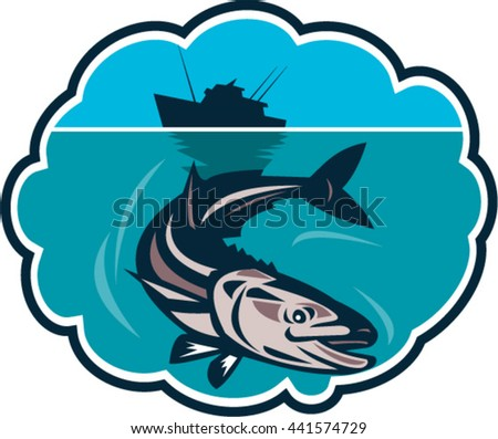 Illustration of cobia (Rachycentron canadum) or black kingfish, black salmon, ling, lemonfish, crabeater, prodigal son, black bonito, aruan tasek achycentron canadum,  with fishing boat retro style.