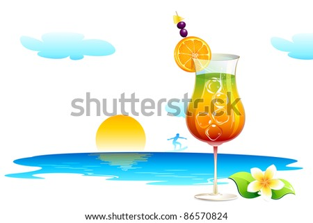 illustration of cocktail glass on sea beach