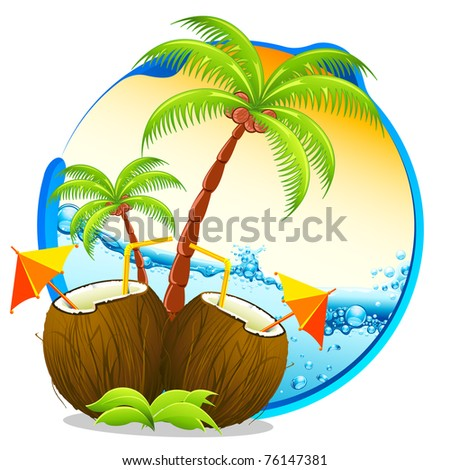 illustration of coconut cocktail with palm tree on tropical background - stock vector