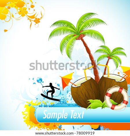 illustration of coconut with palm tree and surfer in sea - stock vector