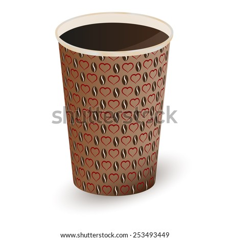 Illustration of coffee in a paper cup . Vector illustration - stock vector