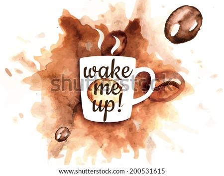 Illustration of coffee mug with coffee splash - stock vector