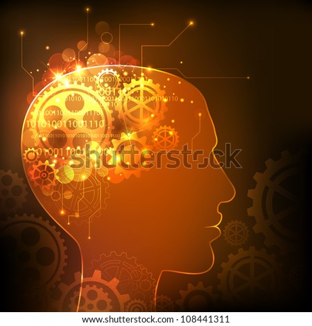 illustration of cog wheels in human mind showing human intelligence - stock vector