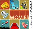 illustration of collage background of movie with different cinema object - stock vector