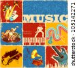 illustration of collage of different music concept - stock photo