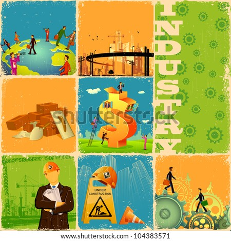 illustration of collage with different industry concept - stock vector