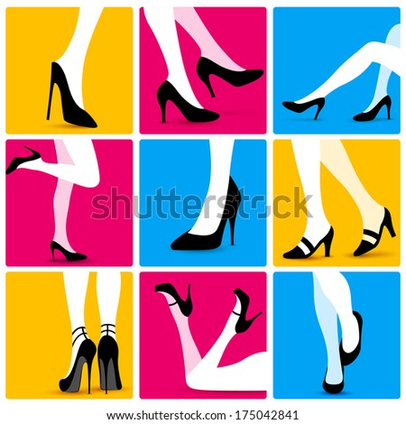 illustration of collection of attractive sexy legs for advertisement and promotion - stock vector