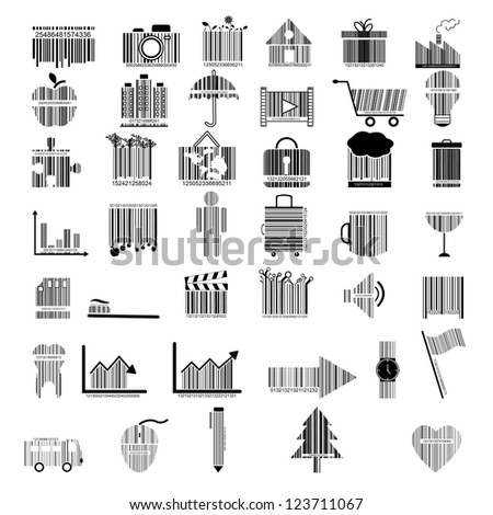 illustration of collection of barcode design