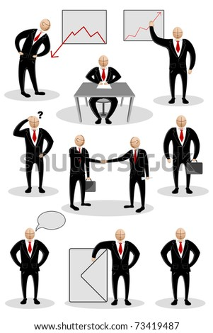 illustration of collection of business man doing different business activities - stock vector