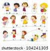 Illustration of collection of simple kids - stock vector
