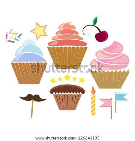 illustration of  color cupcakes isolted on white - stock vector