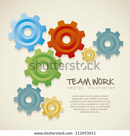 illustration of color gears on beige background,  vector illustration - stock vector