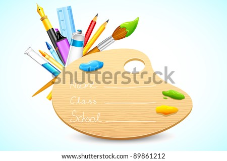 illustration of color palette with stationery on abstract background - stock vector