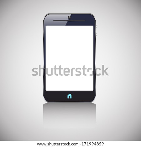 illustration of colored dark smart phone with blank screen and blue button home