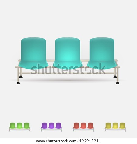Illustration of colored waiting benches. Set of triple colored waiting benches. Five vector illustrations isolated on white. - stock vector