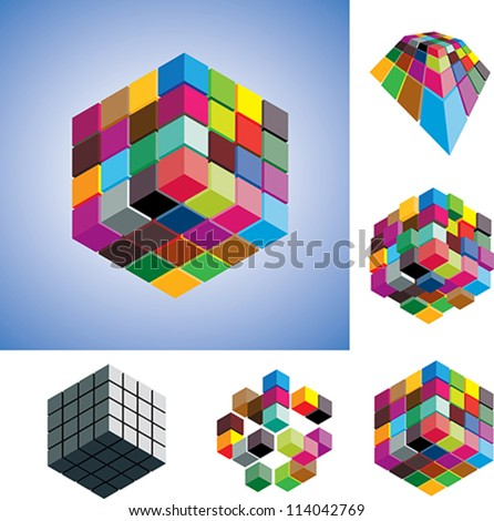 Illustration of colorful and mono-chromatic 3d cubes arranged in various ways showing them in different perspective and view angles. - stock vector