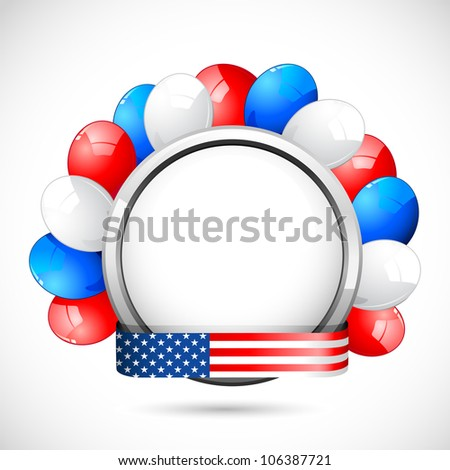 illustration of colorful balloon with American flag color ribbon - stock vector