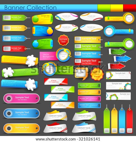 illustration of colorful banner jumbo collection for header and promotional activity - stock vector